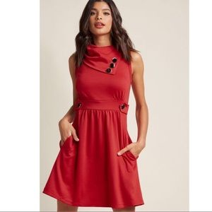 ModCloth Coach Tour A-Line Dress in Rouge